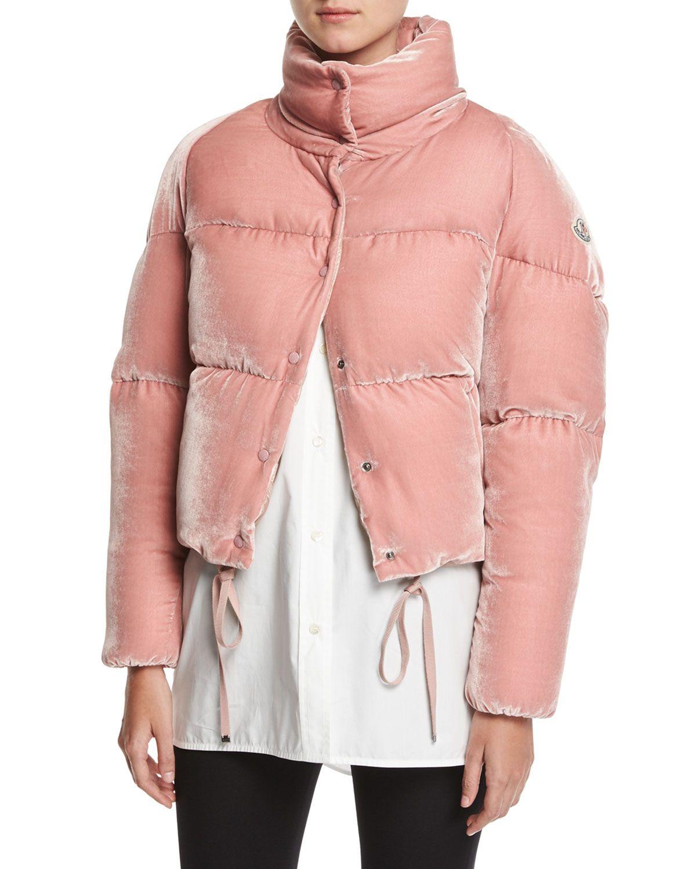 Designers Moncler Cropped Velvet Puffer Jacket For Women Online Sale