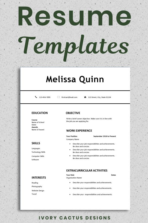 Student Resume Template Word Simple Modern Clean Easy One