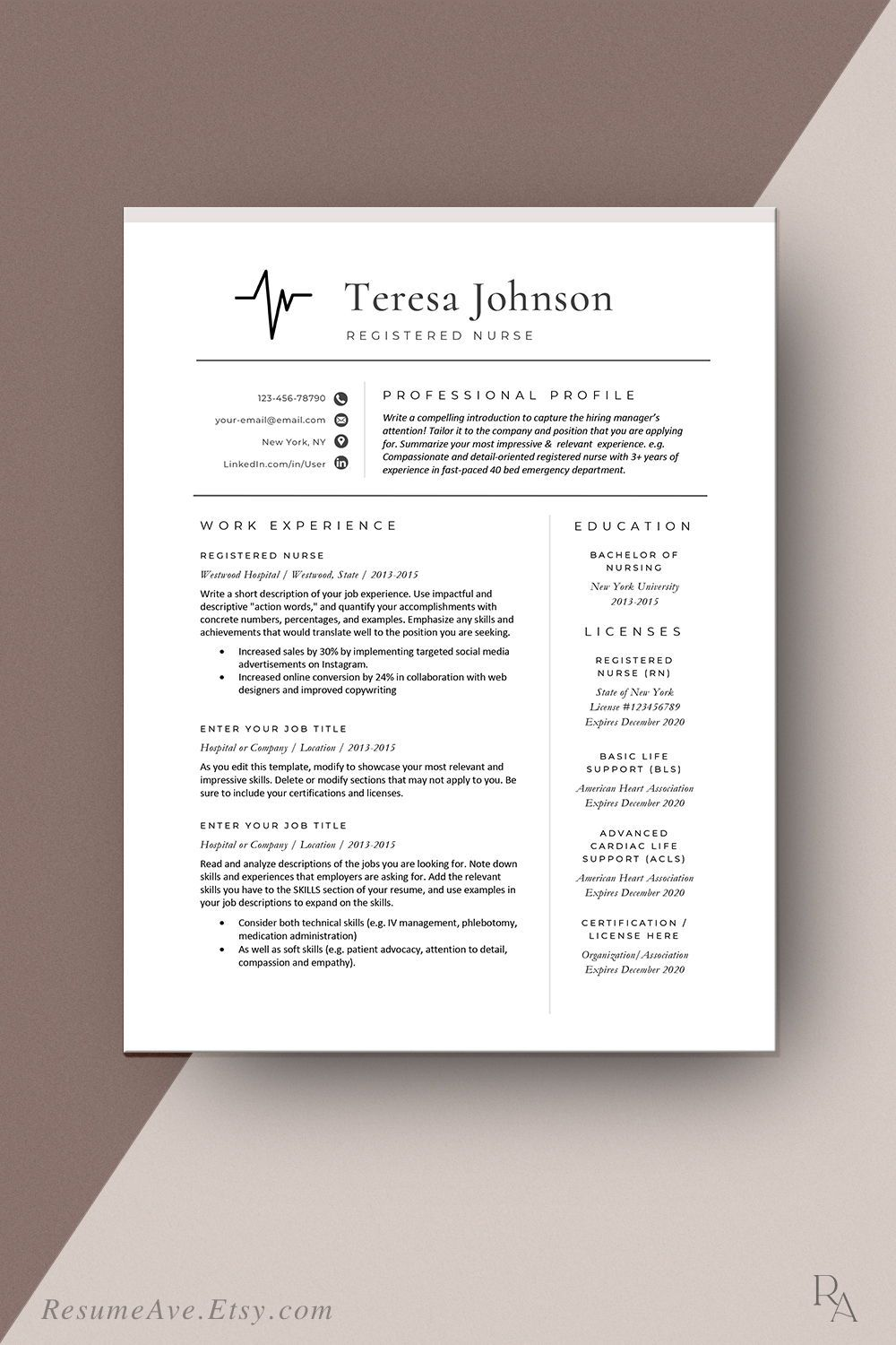 Nurse resume template with heart tracing for digital