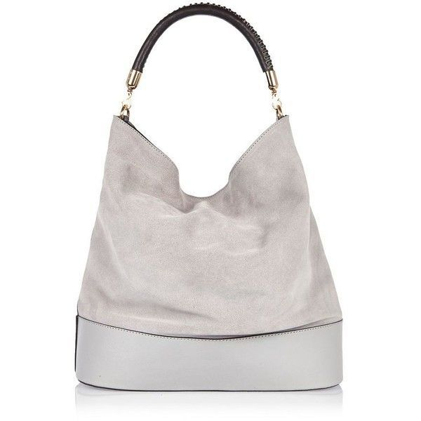 River Island Grey suede slouch handbag ( 100) ❤ liked on Polyvore featuring  bags 730df24761580