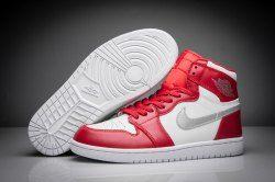 6491e16d8472a3 Nike Air Jordan 1 High Retro Gym Red Silver White 332550-602 mens  basketball shoes