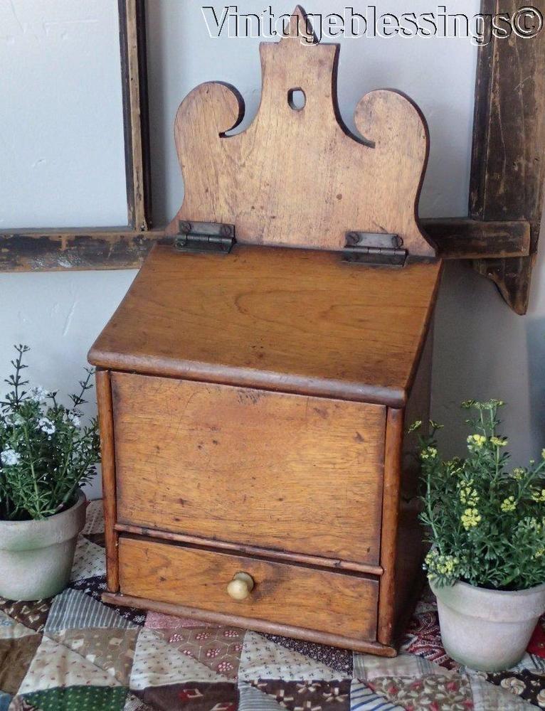 Antique Wooden Salt Box With Drawer
