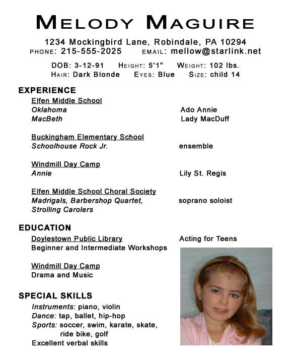 child actor resume samples