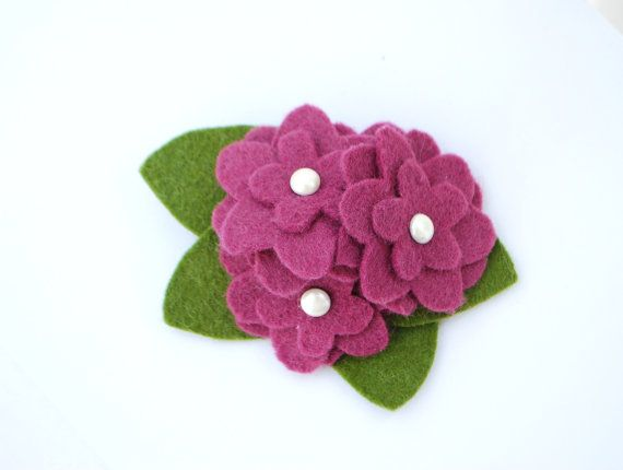 Plum Blossom Felt Flower Cluster Hair Clip, Includes 3 Purple Wool Felt Flowers
