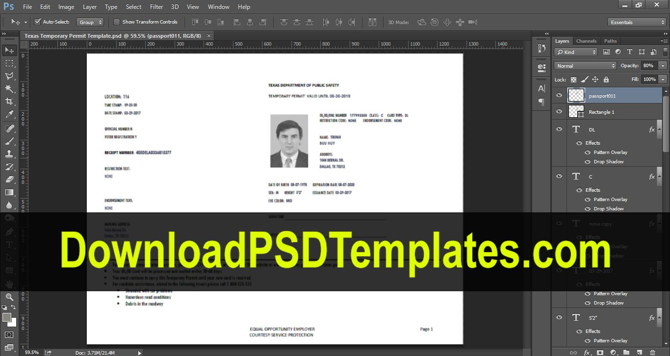 Texas Temporary Permit Template Psd intended for Texas Id