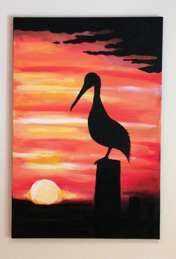 Pelican sunset acrylic painting by beadledesignsla on etsy for Easy painting ideas step by step