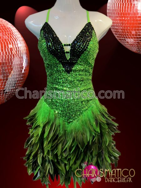 ec1d112b1 Charismatico Dancewear Store - CHARISMATICO Green and black sequin Latin  dance dress with feathered skirt,
