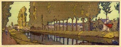 "Frank Morley Fletcher (1866-1949) - Waterway. Woodblock Print. Circa 1930. 5-7/8"" x 16-1/8""."