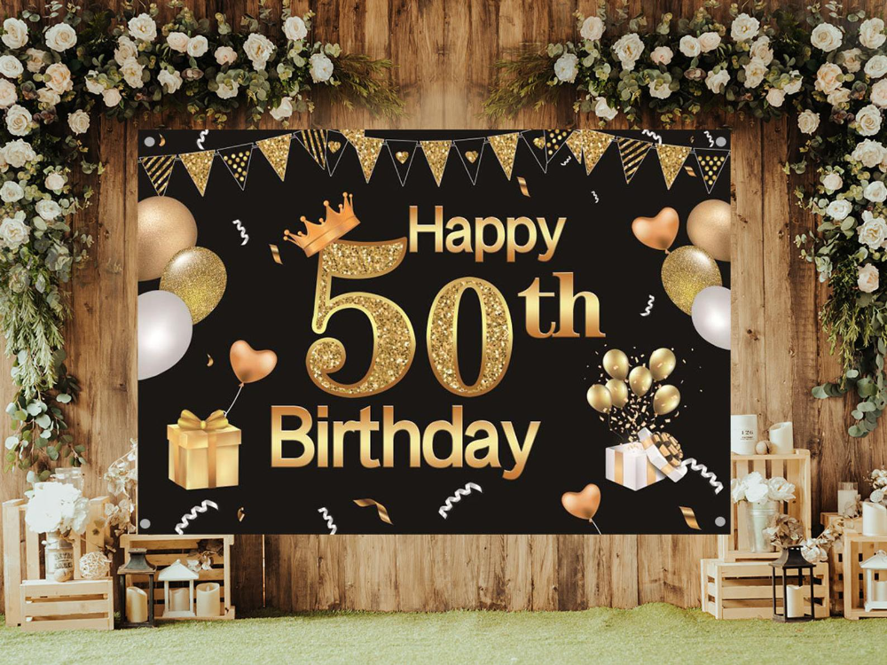 50th Happy Birthday Backdrop 7x5 Feet Black And Gold Birthday Etsy Birthday Backdrop 60th Birthday Party Decorations 40th Anniversary Decorations