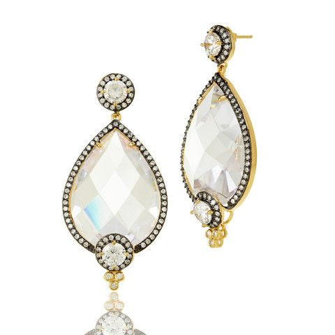 Gala Pave Framed Facet Teardrop Earrings - FREIDA ROTHMAN perfect for holiday parties