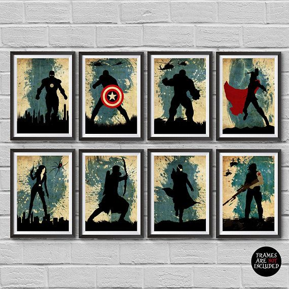 The Avengers Minimalist Posterset 8 Marvel Superheroes Captain Etsy Marvel Wall Art Superhero Wall Art Movie Posters Minimalist