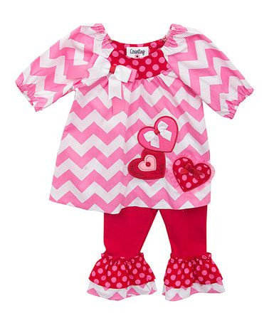 Another great find on #zulily! Pink & Red Chevron Tunic Set - Infant #zulilyfinds