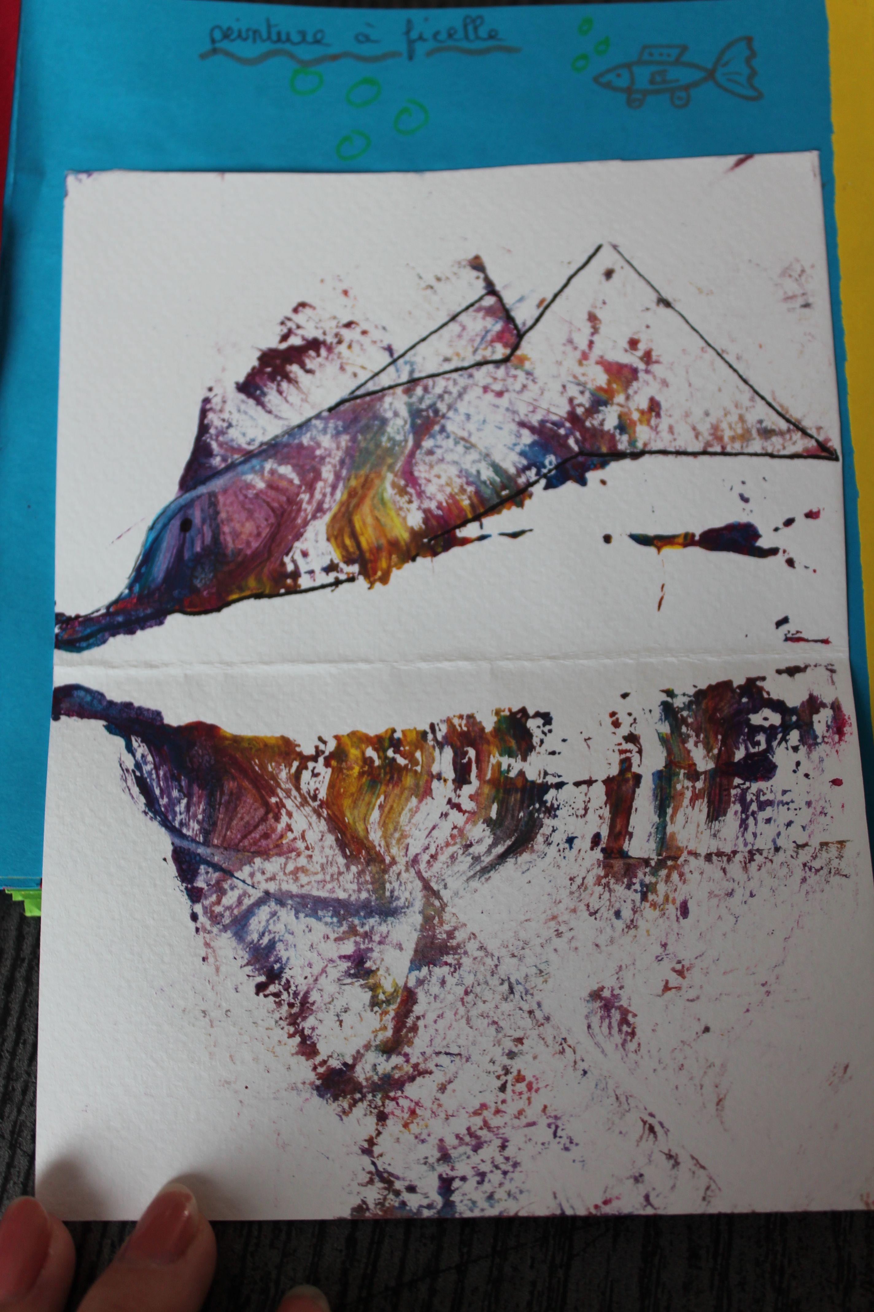 Peinture A La Ficelle Prendre Une Ficelle Et Une Feuille Canson