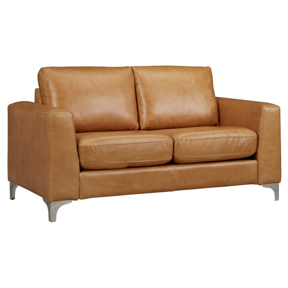 Anson Leather Loveseat Camel - Inspire Q, Buff Beige