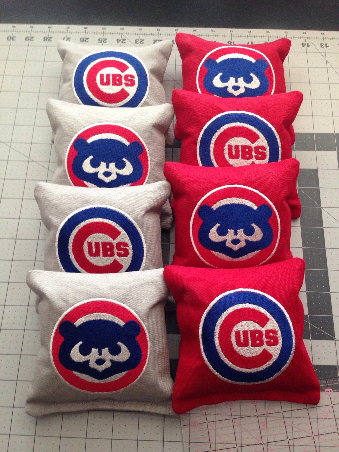 8 Cornhole Bags Custom Embroidered Chicago Cubs Etsy Cornhole Bags Chicago Cubs Cornhole Designs