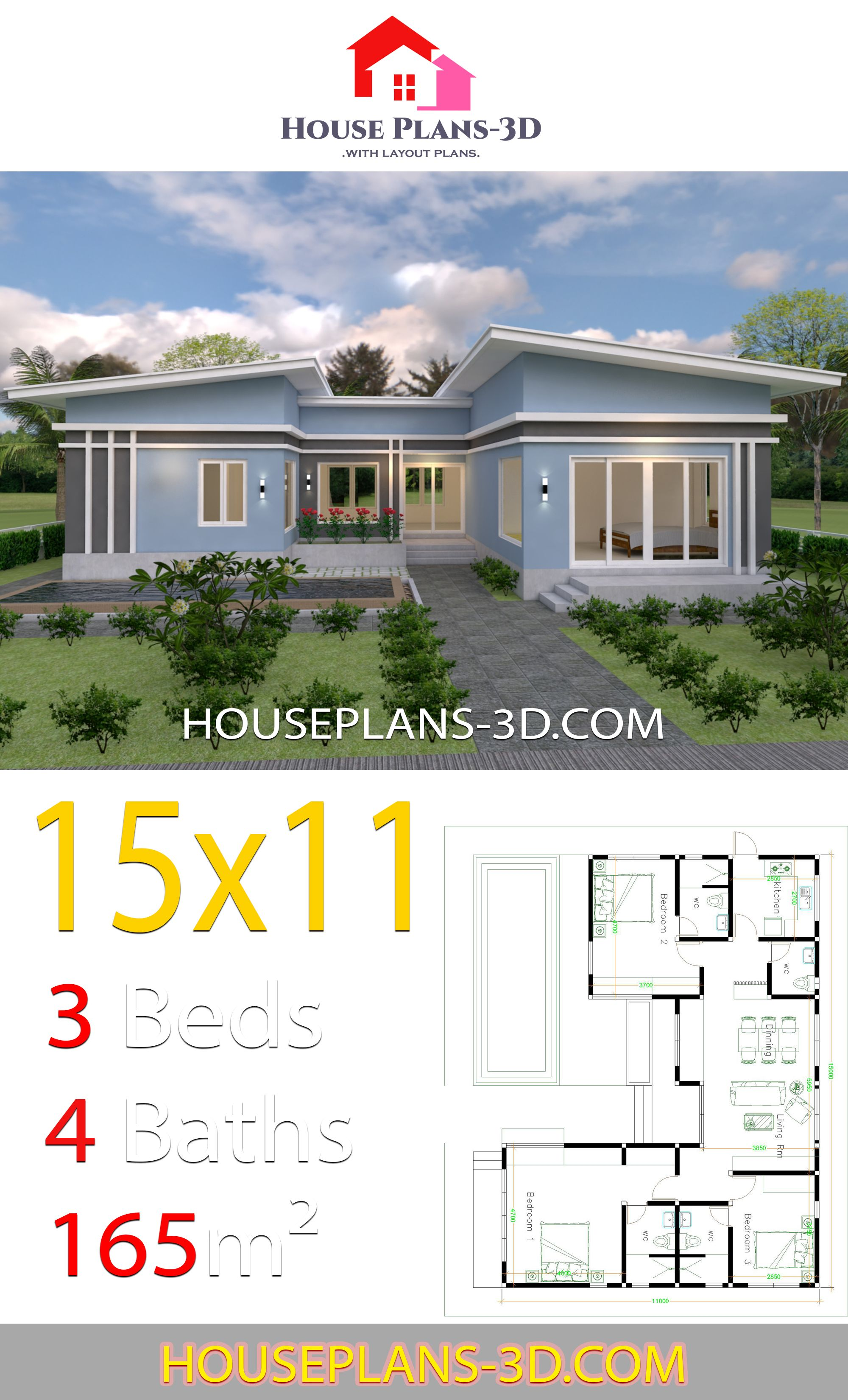 House Plans 15x11 With 3 Bedrooms Slope Roof House Plans 3d House Construction Plan My House Plans House Plan Gallery