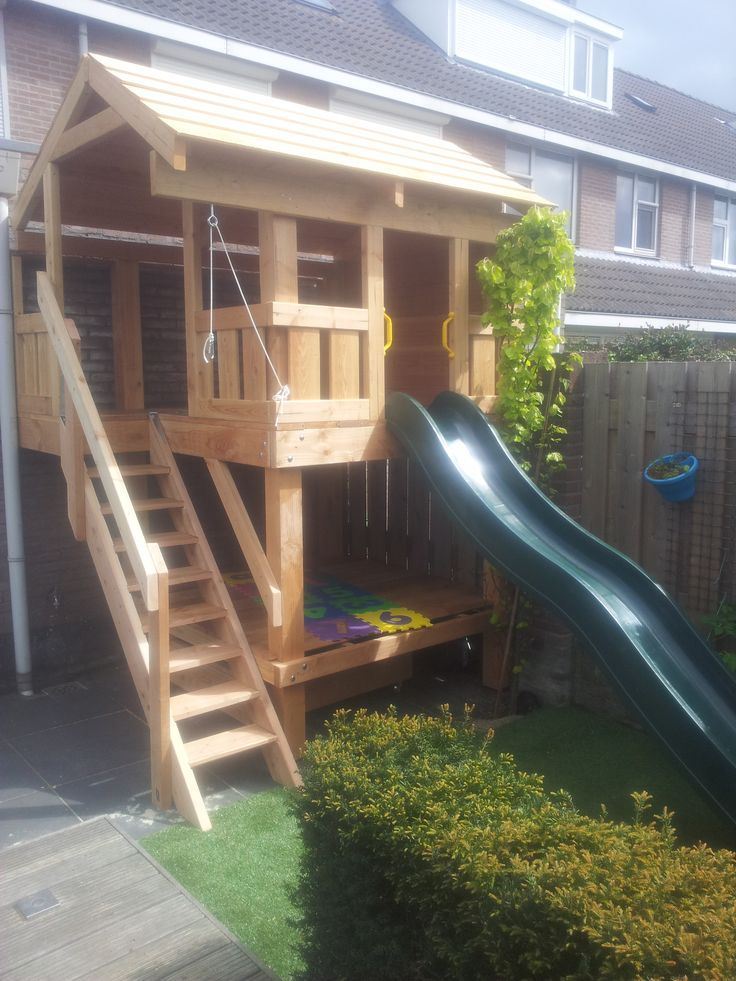 Diy Playhouse, Wooden Playhouse, Cubby Houses, Play Houses, Outdoor  Playground, Playground Ideas, Treehouses, Outdoor Playhouses, Kids