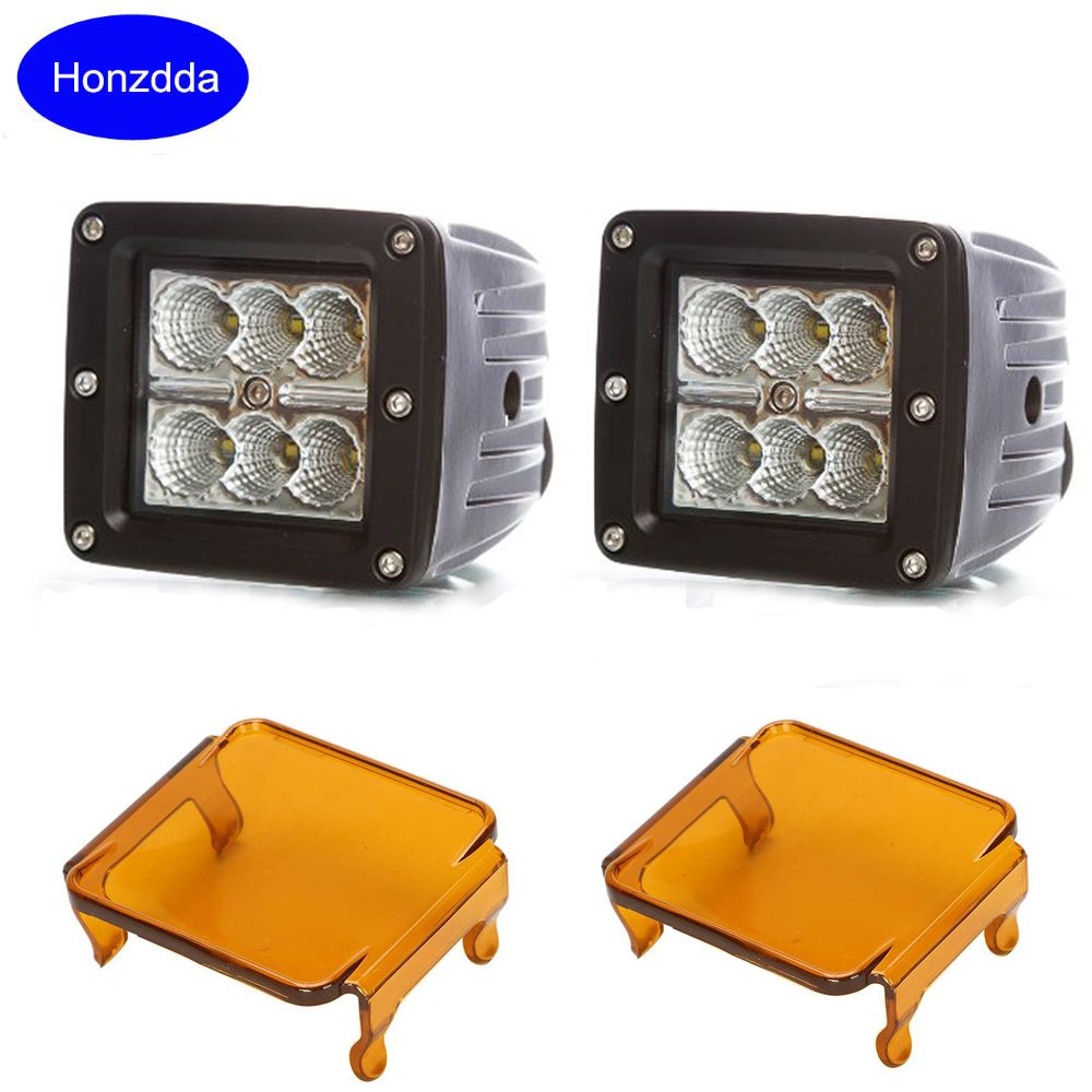 18w 12v Led Work Light Flood Led Driving Fog Light With 2pcs Free Amber Protective Cover For4wd 4x4 Led Light Work Dr Led Work Light Work Lights Led Fog Lights