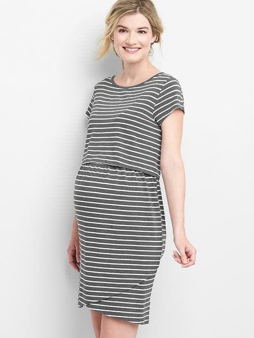 2e3bae6cdd5b Gap Womens Maternity Stripe Nursing T-Shirt Dress Gray Stripe Size XS