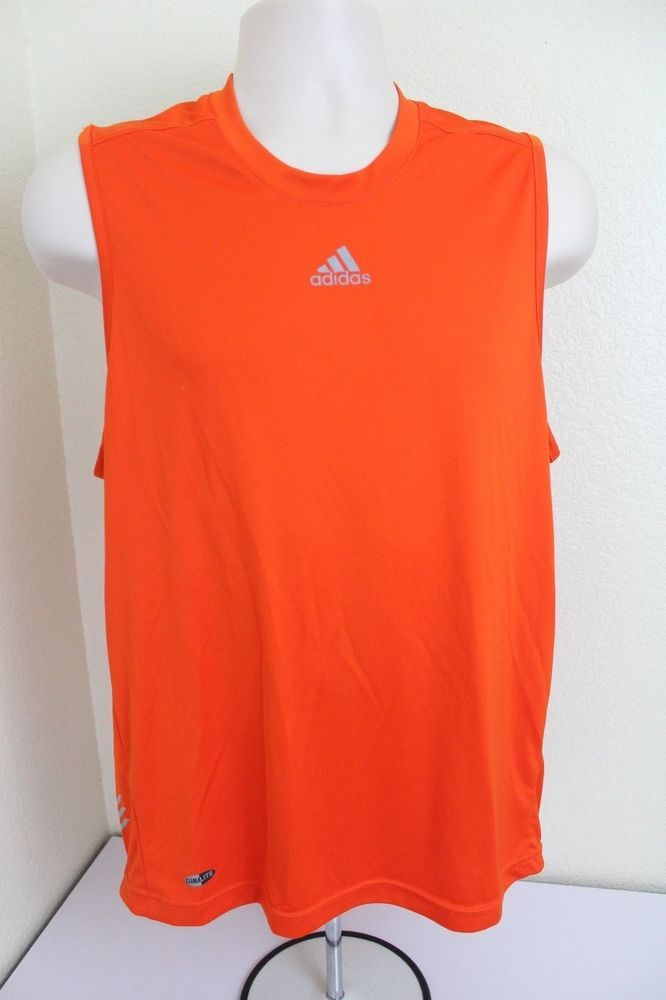 f5667a19d0596d adidas climalite men tank top shirt (M) orange sleeveless polyester pre-  owned  adidas
