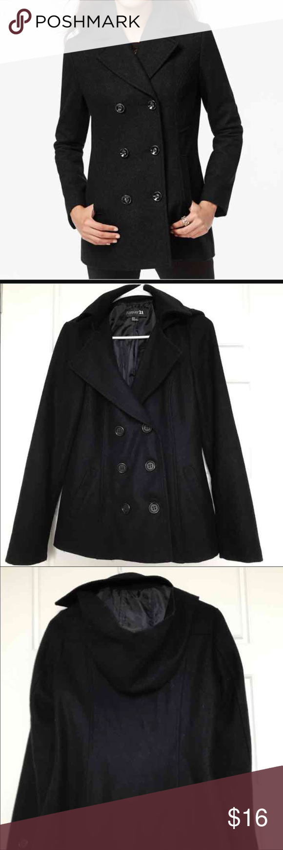 Hoodie Peacoat Hoodie Peacoat -Navy Blue - Size M - Forever 21 - Very good condition Forever 21 Jackets & Coats