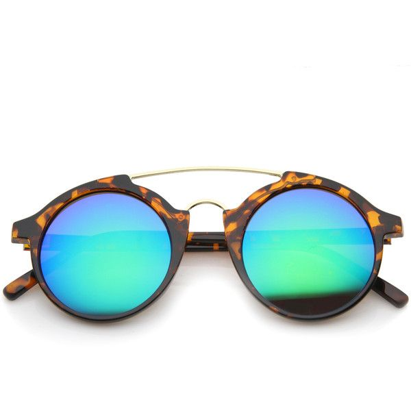 Retro round horned rim mirror lens sunglasses a192 (€13) ❤ liked on ...
