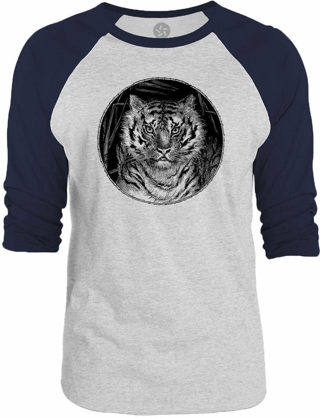 Big Texas Tiger Portrait 3/4-Sleeve Raglan Baseball T-Shirt