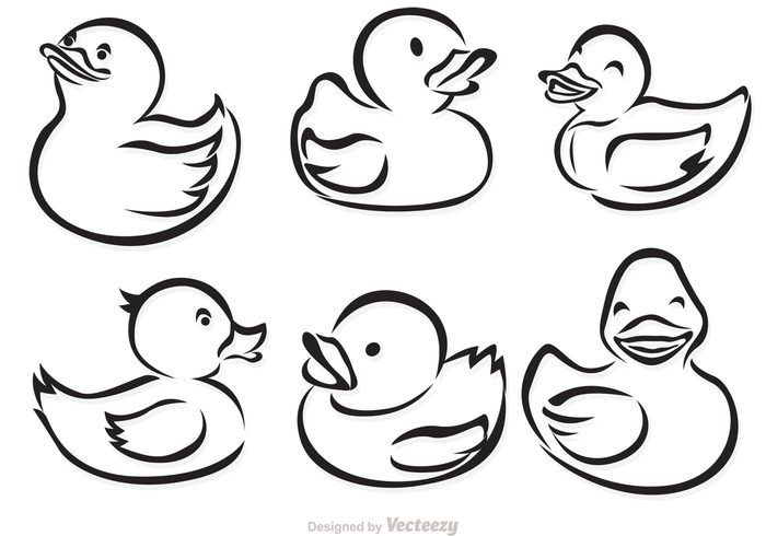 Black And White Rubber Duck Clipart