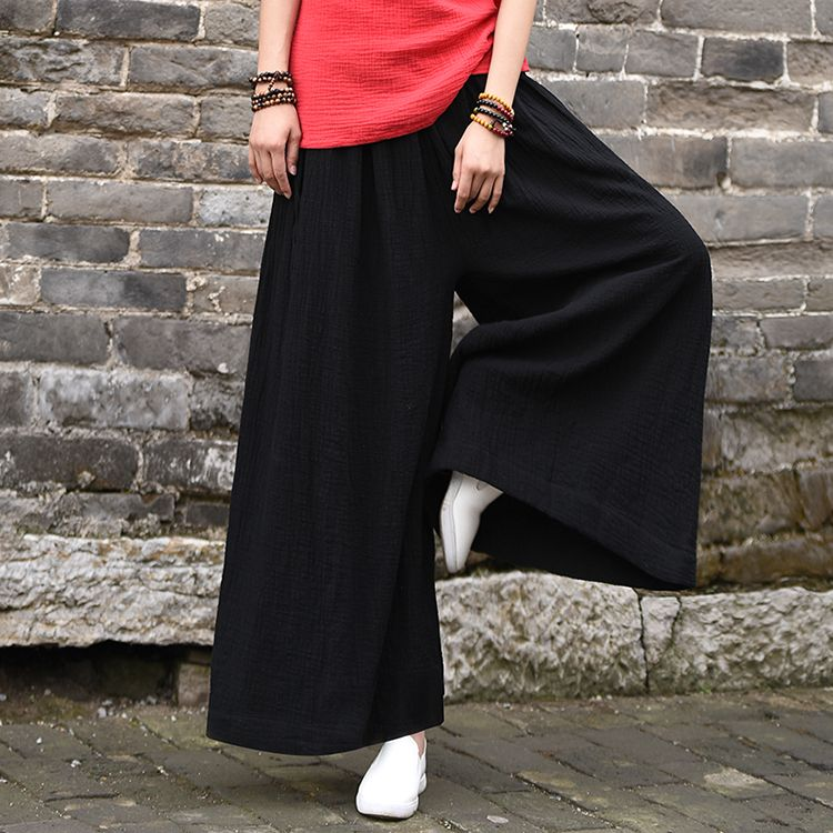 7c68871e270833 2017 spring cotton linen casual small pants – Asian Style Loose Wide Leg  Yoga Skirt Type Pant