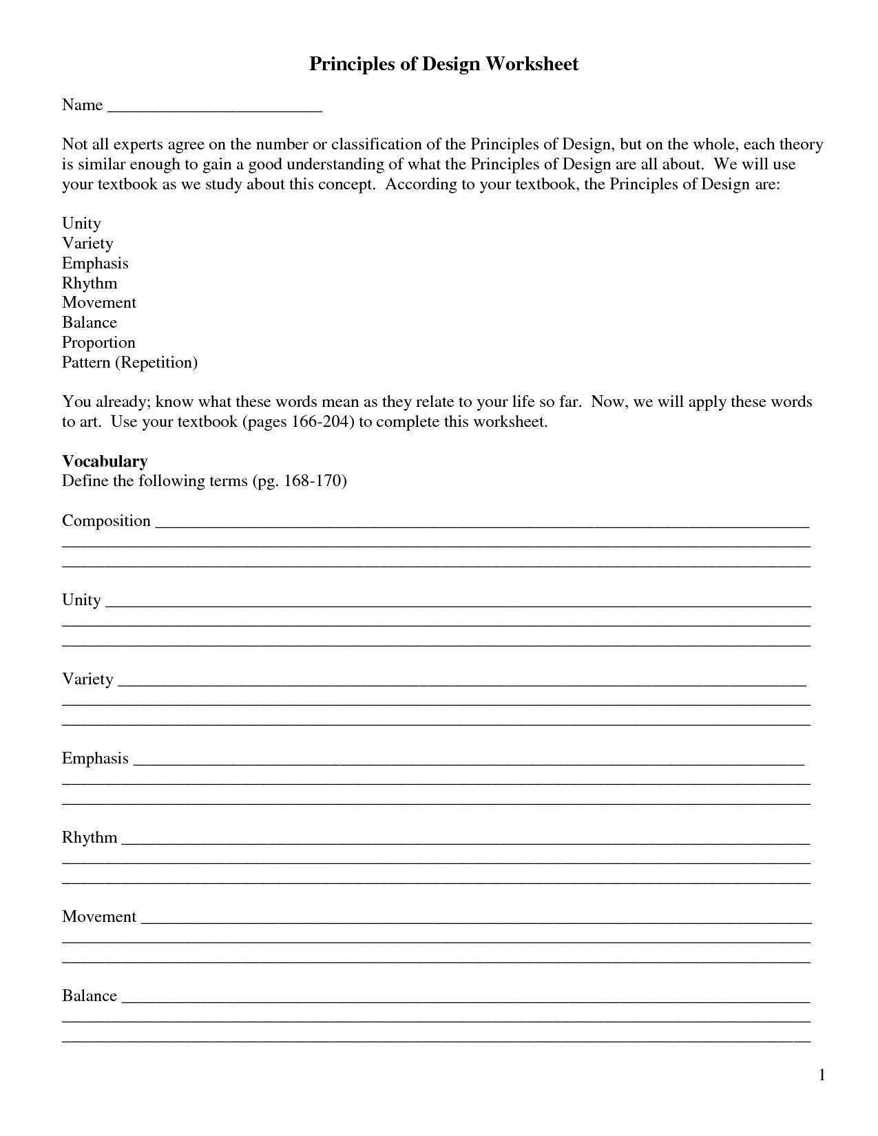 Elements Of Art Worksheets | Principles of Design Worksheet | Art ...