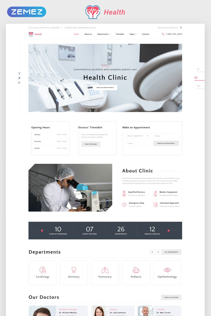 Clinic Multipage Html5 Template Website Template Website Template Design Clinic
