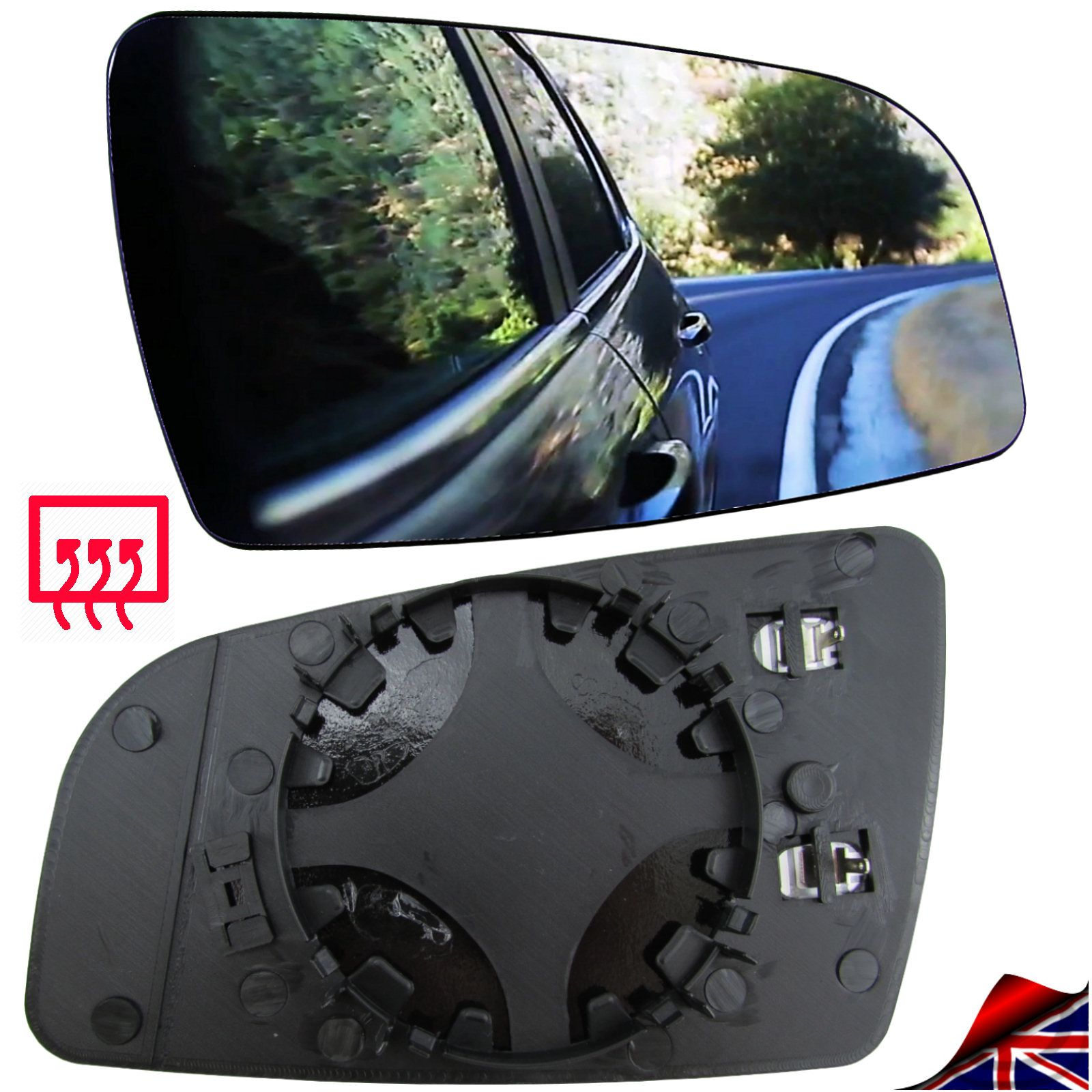 Driver Side Silver Aspheric Door//Wing Mirror Glass Including Base Plate RH VUXHL-Astra 2004 to 2009 Heated