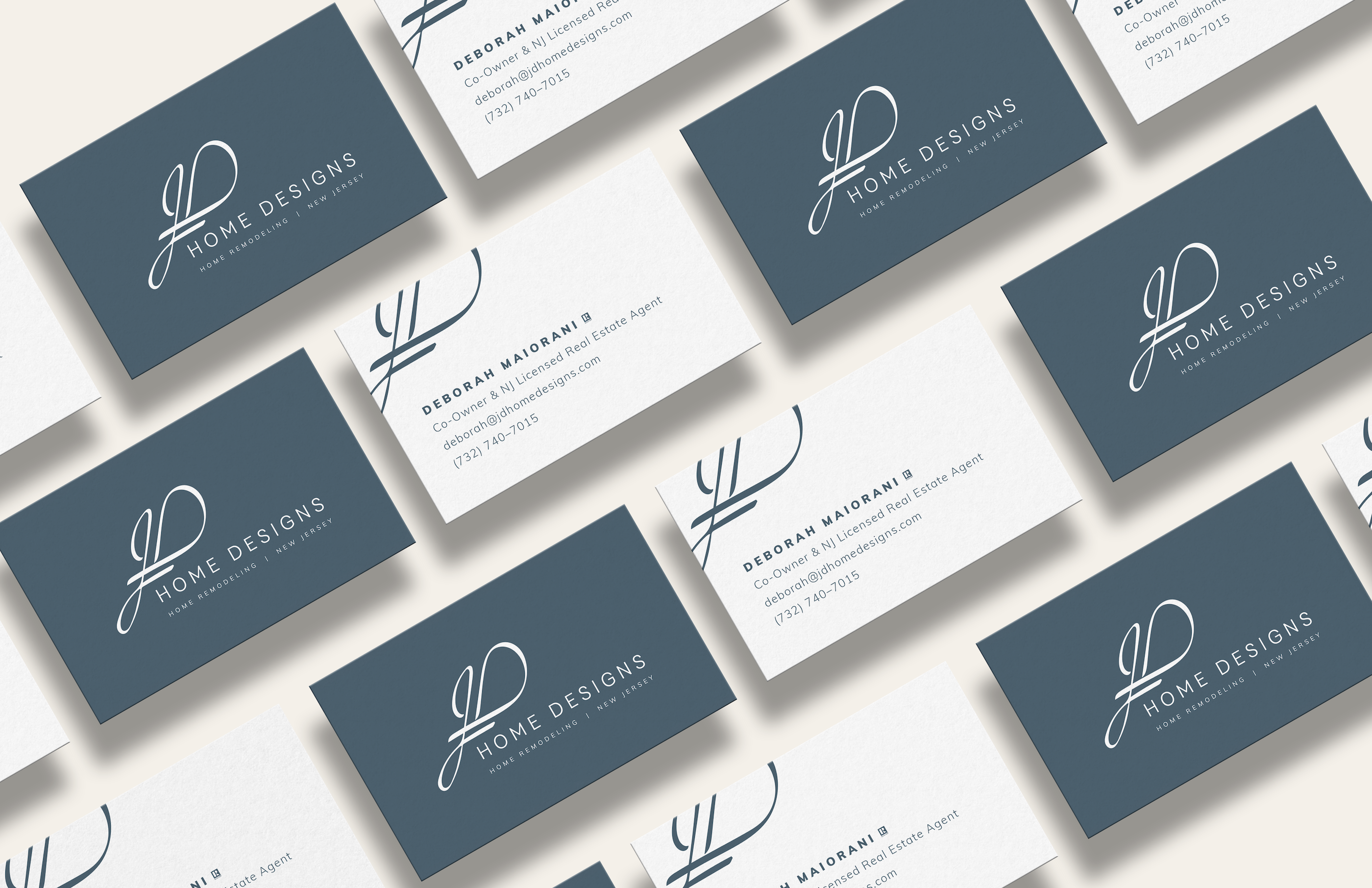 Jd Home Designs Blue Minimal Business Cards By Treadaway Co