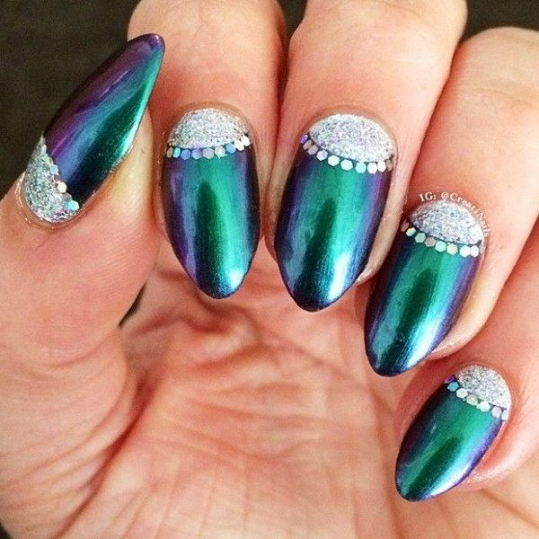 100 Awesome Green Nail Art Designs Styletic Green Nails Green Nail Art Emerald Nails