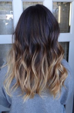 Dark Brown To Blonde Dip Dye With Images Colored Hair Tips
