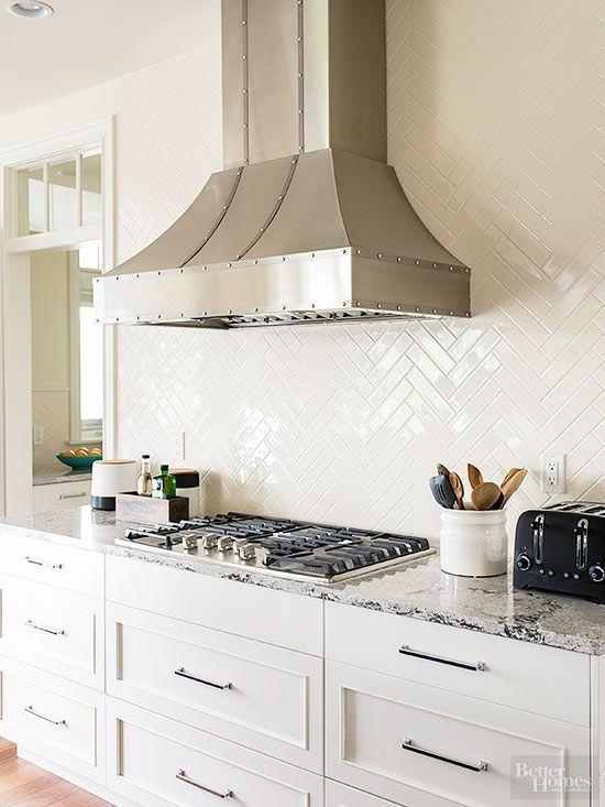 Glossy Tiles Basic Subway Tile In A Herringbone Pattern