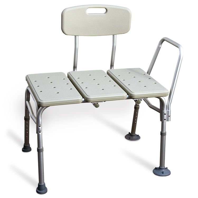 This Blow Molded Textured Tub Transfer Bench With Removable Armrest And Reversible Backrest Has