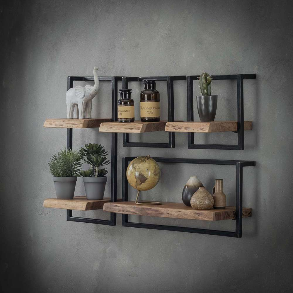 Vintage Metallregal Vintage Wandregal 30/65 Cm Akazie Massivholz Metall Regal | Metal Storage Shelves, Metal Shelves, Wall Shelves Design