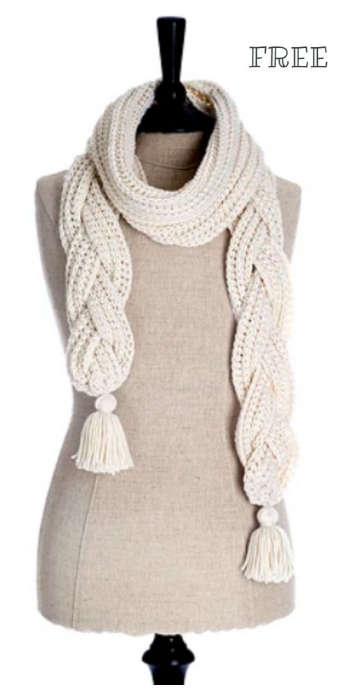Crochet Braided Scarf Free Patterns #scarves