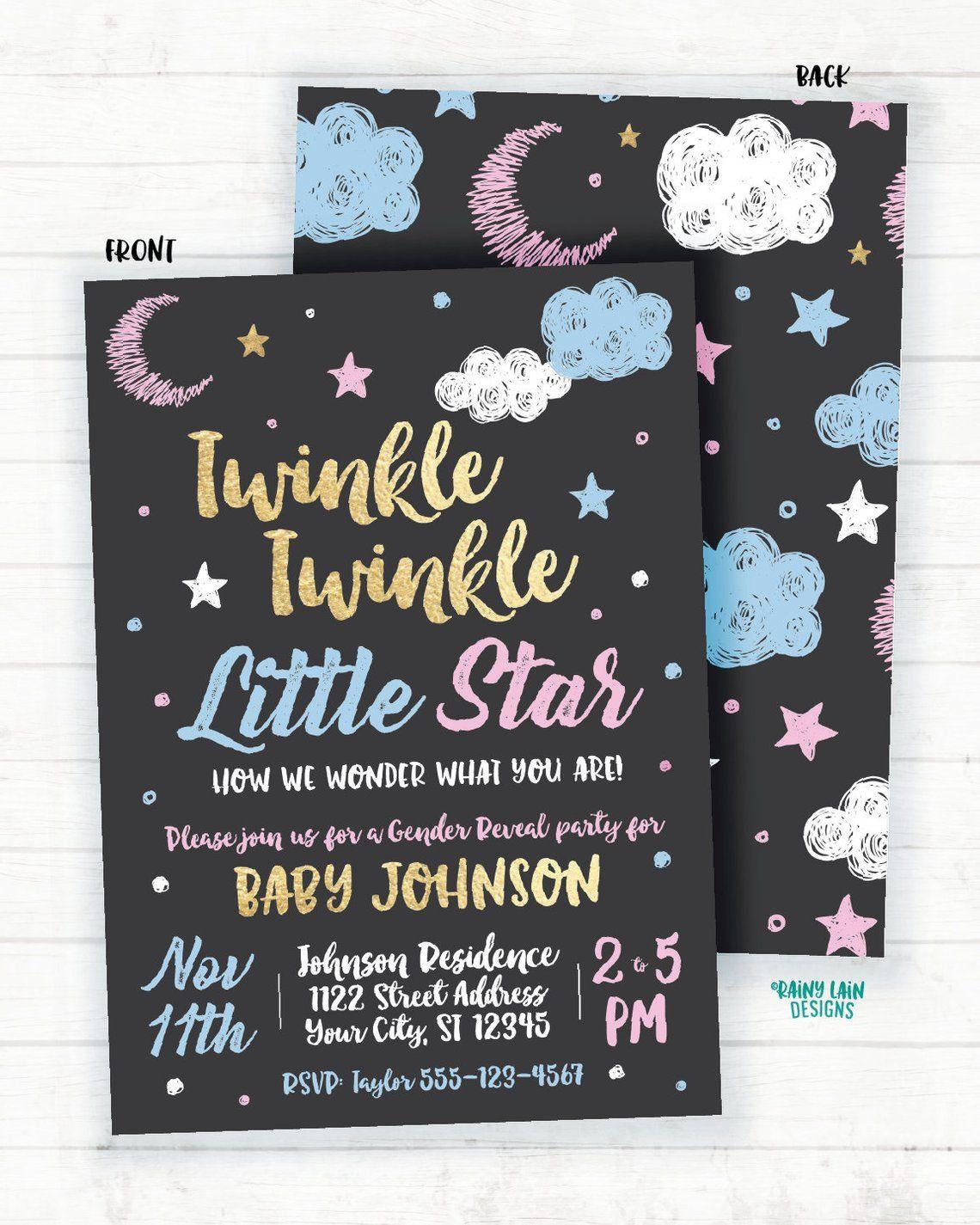 Twinkle Twinkle Little Star Gender Reveal Invitation Chalkboard Twinkle Twinkle Little Star Gender Reveal Invite Blue Pink Gold Moon Clouds In 2021 Gender Reveal Invitations Gender Reveal Invitations Template Gender Reveal