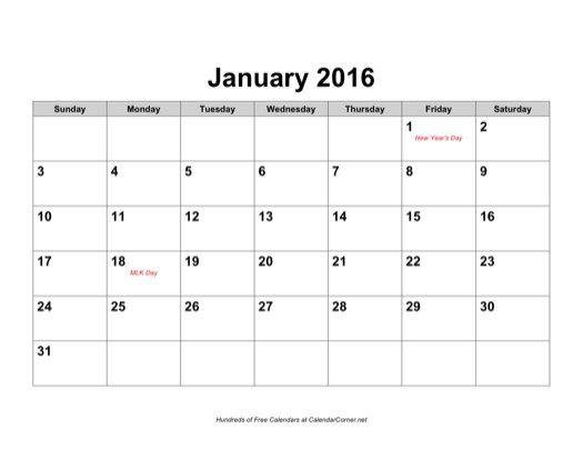 Free 2 January 2016 Calendar Microsoft Word Landscape | 2016 ...