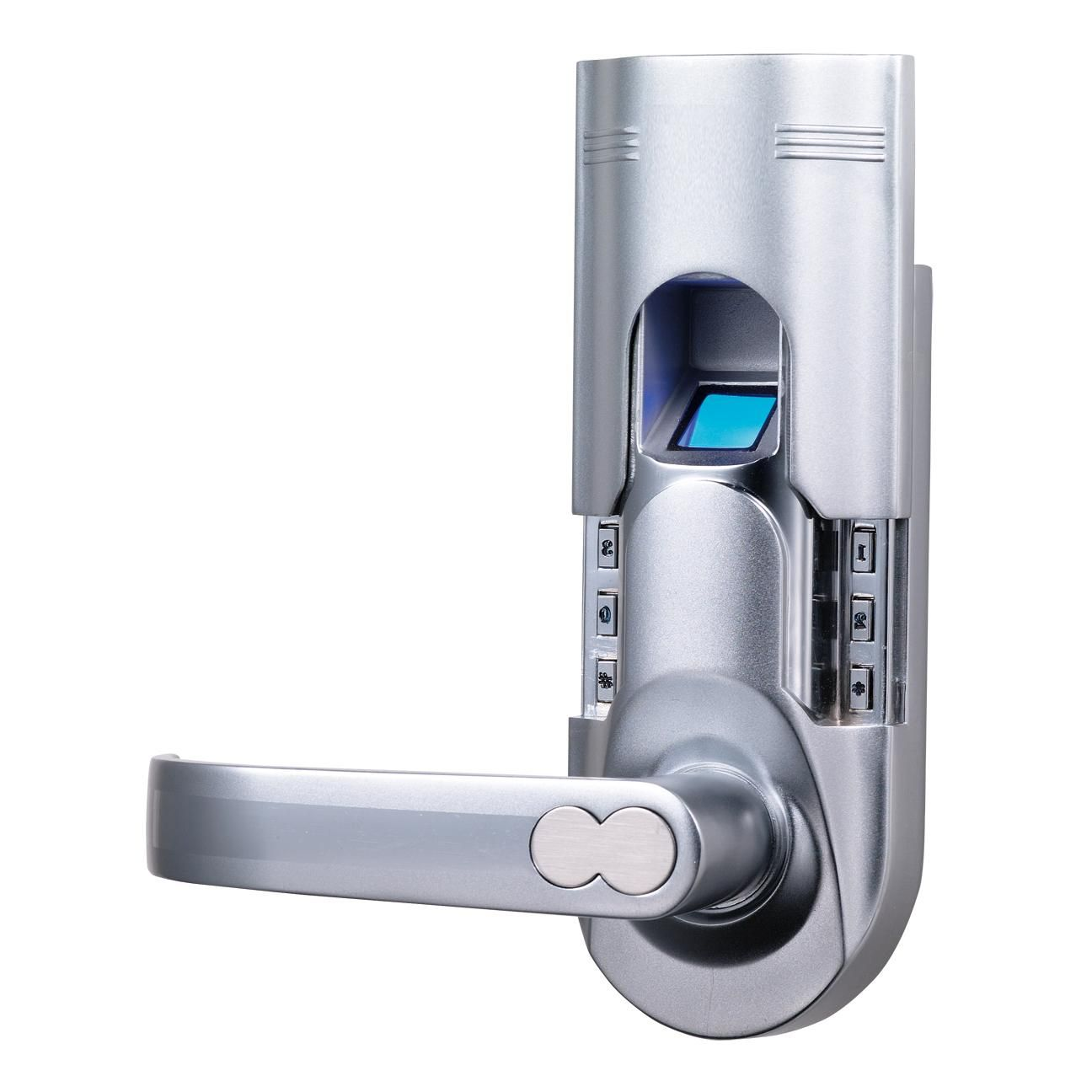 assa abloy digi digital electronic single latch biometric fingerprint keypad door lock key lock knob chrome left lever handle - Biometric Door Lock