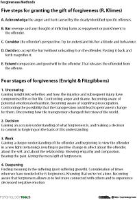 Methods Of Forgiveness Ways Of Forgiving Worksheet