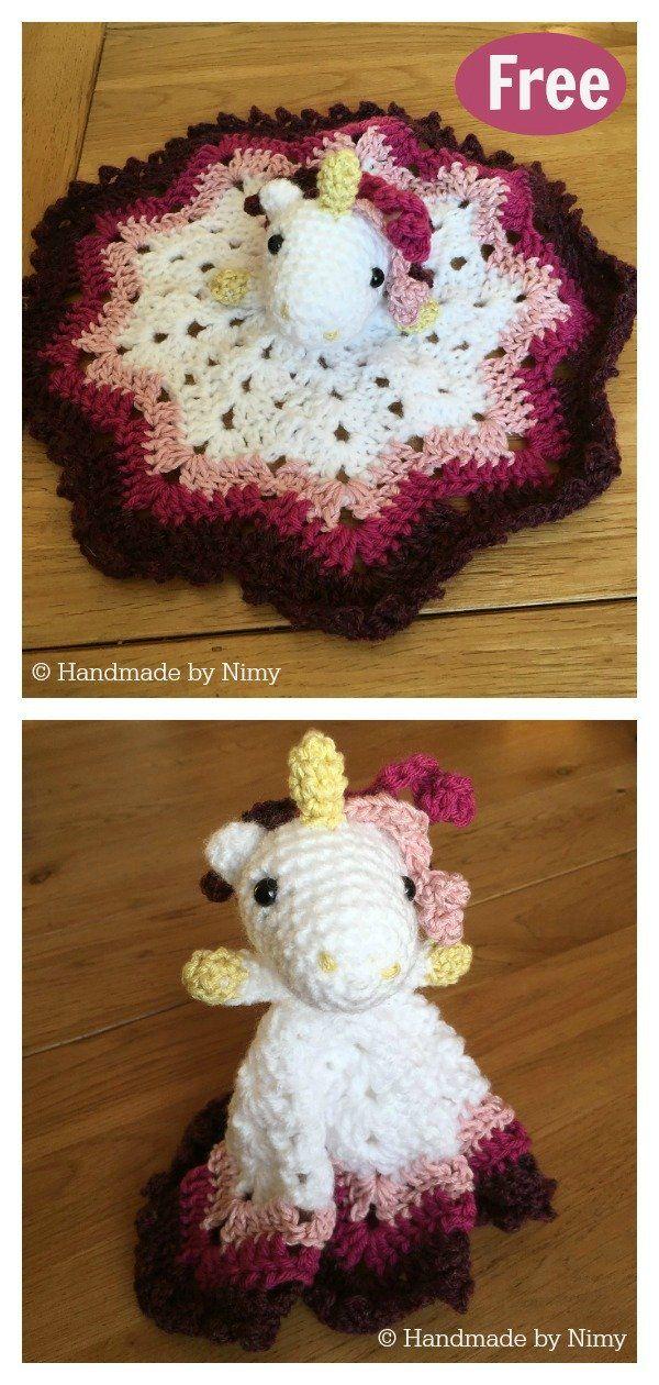 Unicorn Lovey Security Blanket Free Crochet Pattern