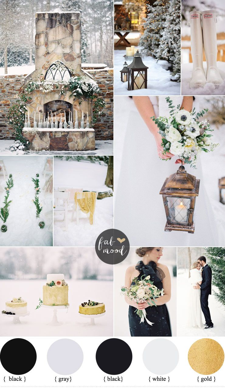 Outdoor Winter Wedding { Black and Gold wedding colors } | Pinterest ...