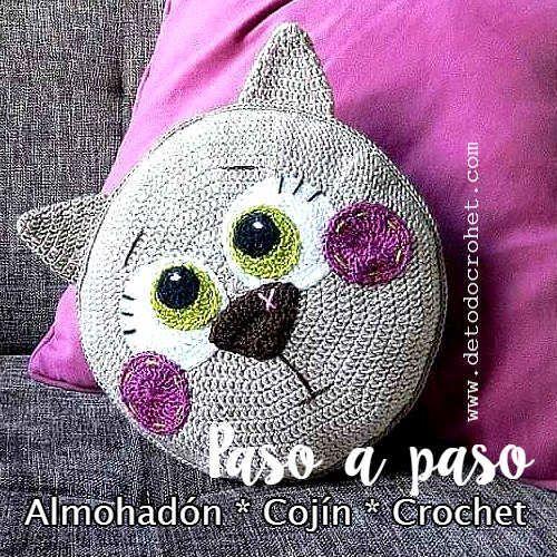 Todo crochet | Pinterest | Cojin gato, Gato y Mantas tejidas