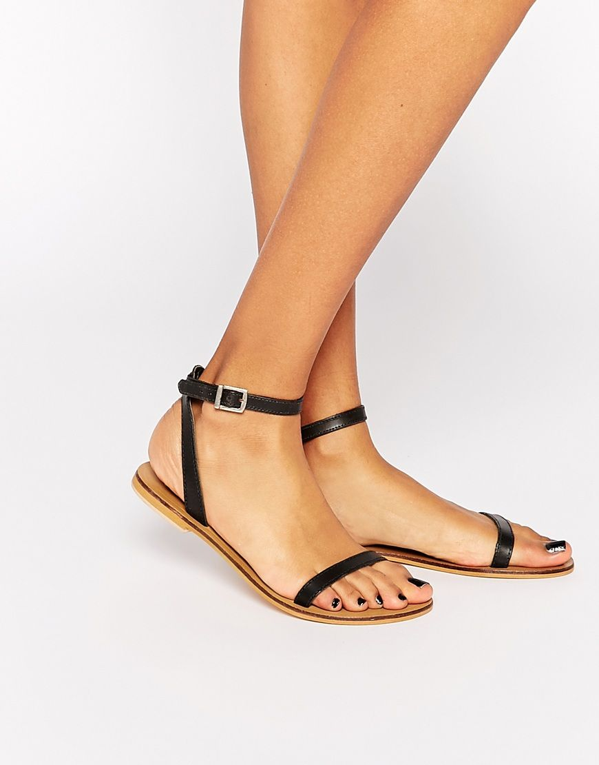 Black nice sandals - Finlay Leather Flat Sandals