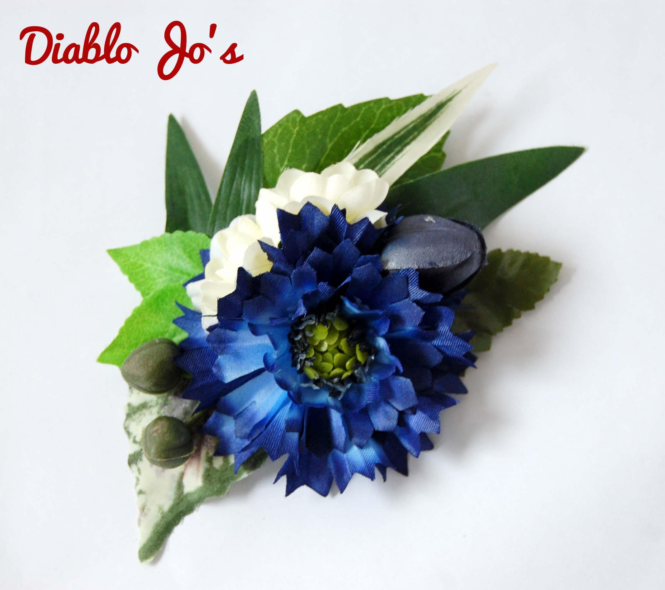 Shell cornflower hair flower royal blue pin up vintage style beautiful cornflower hair flower royal blue pin up vintage style wedding hair izmirmasajfo Image collections
