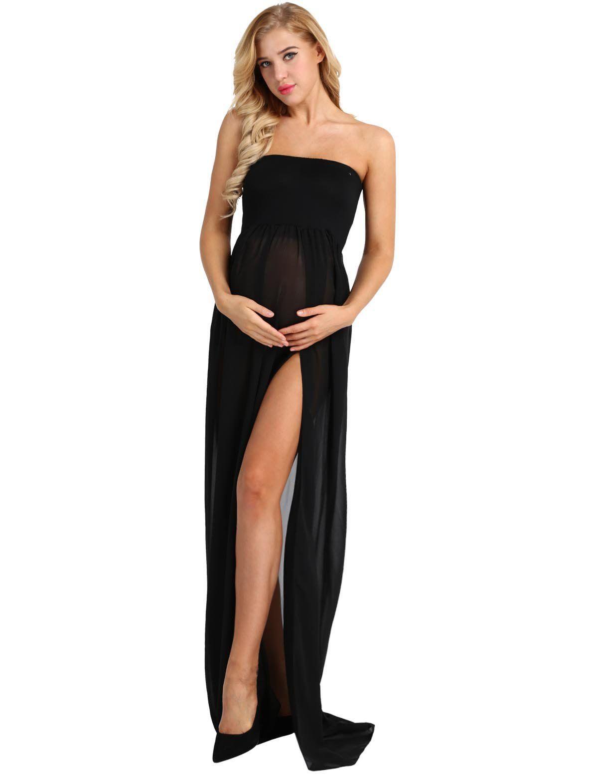 6dec5e152c7 Women Maternity Clothes - iEFiEL Maternity Women Chiffon Gown Split Front  Strapless Maxi Pregnancy Photography Dresses Black XL     Find out even  more ...