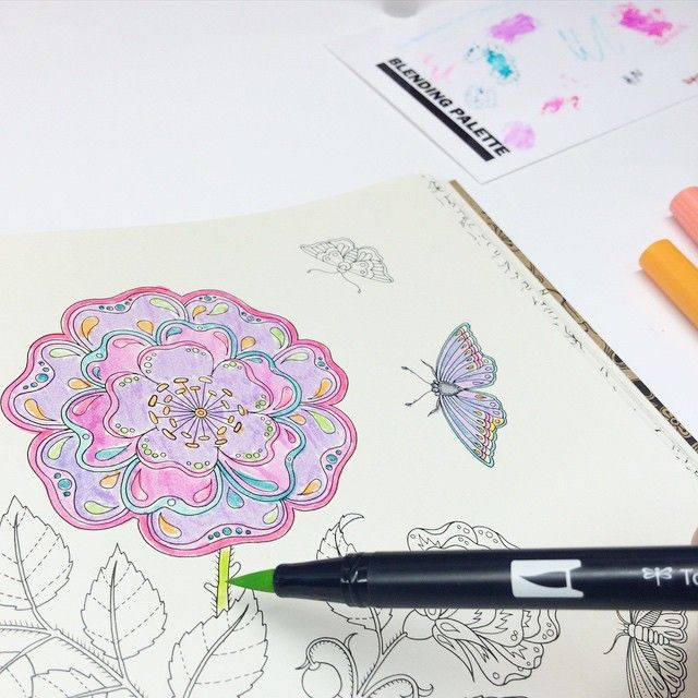 Use Tombow Dual Brush Pens Directly On Your Coloring Book For More Saturated Color Or Use The Blending Palette And The Book Art Coloring Books Pattern Drawing